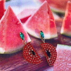Rhinestone Watermelon Earrings (Y09)
